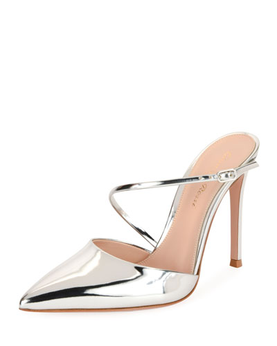 Metallic Leather 85mm Mule, Silver