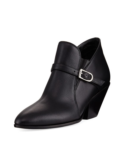 Calf Leather Ankle Bootie with Buckle