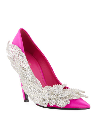 Crystal-Embellished Satin Pumps