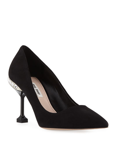 Suede Jeweled-Heel Pump, Black