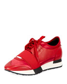 Race Satin and Leather Sneaker