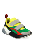 Colorblock Grip-Strap Platform Sneaker