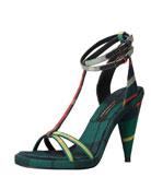 Check-Print Ankle-Wrap Sandal, Green