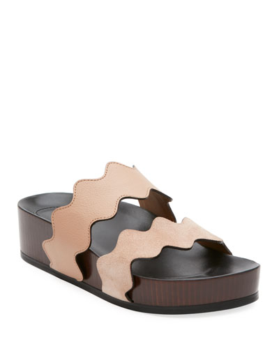 Lauren Two-Band Wedge Slide Sandal