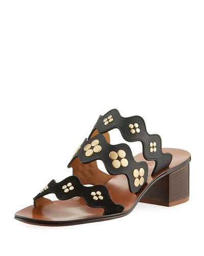 Lauren Studded Block-Heel Slide Sandal