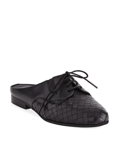 Neala Woven Slide Oxford Mule, Black