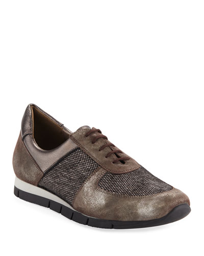 Candy Metallic Trainer Sneakers, Dark Taupe