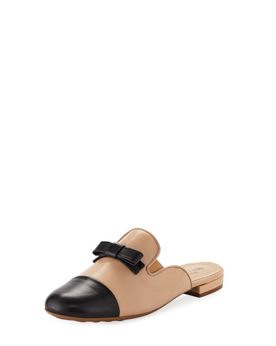 Kare Two-Tone Bow Slide Mule, Ecru/Black