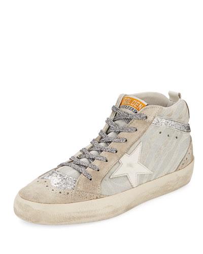 Mid-Top Zebra Star Glitter Sneaker