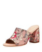 Onevase Floral-Embroidered Mule Sandal