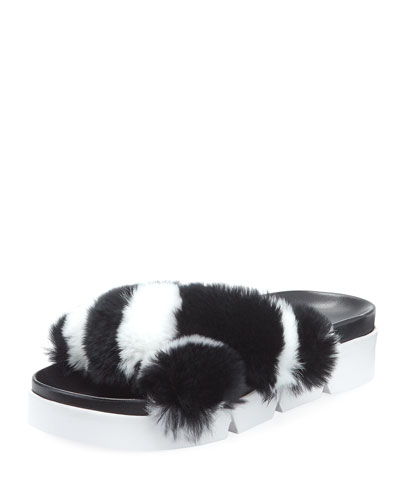 Sublime Rex Rabbit Fur Slide Sandal, Black/White