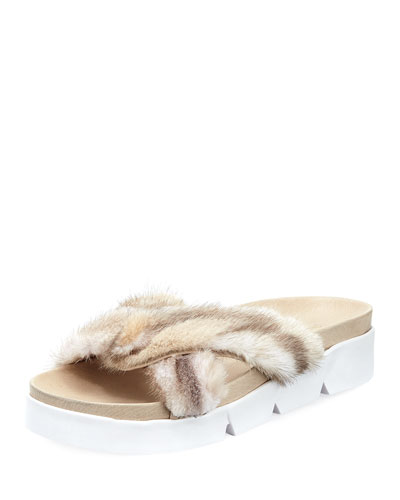 Sublime Flat Mink Fur Slide Sandal