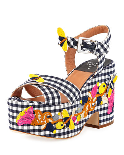 Helissa Gingham Embroidered Platform Wedge Sandal