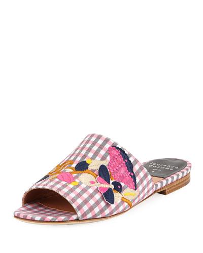 Embroidered Gingham Slide Sandal