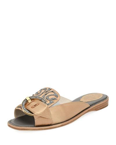 Satin and Wood Flat Slide Sandal