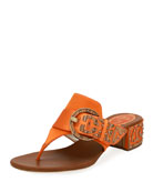 Rene Caovilla Satin Thong Sandal with Wooden Accents