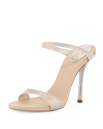 Embellished Satin Two-Band Slide Sandal