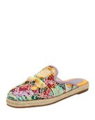 Studded Embroidered Flat Espadrille Mule