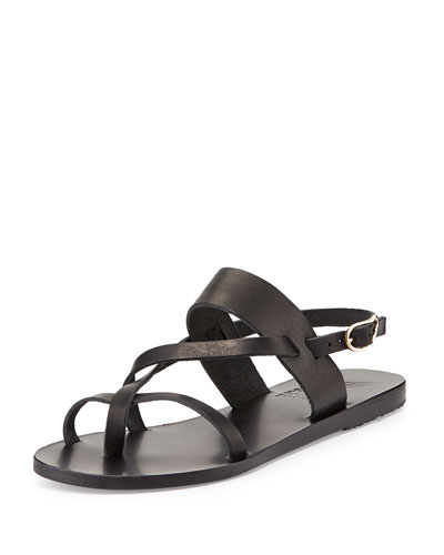 Alethea Leather Flat Sandal, Black