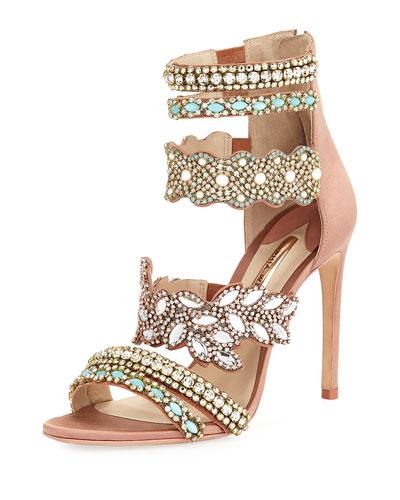 Eden Crystal-Embellished Satin Sandal