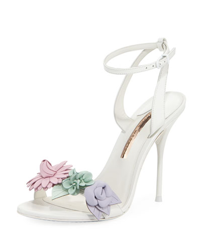 Lilico Floral Calf Leather Sandal, White Pastel