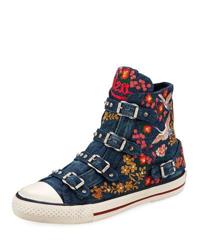Vivi Multi-Buckle Embroidered Denim High-Top Sneaker