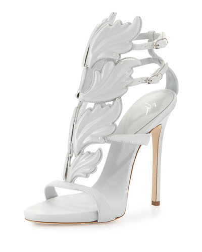 Coline Wings Suede High-Heel Sandal, White