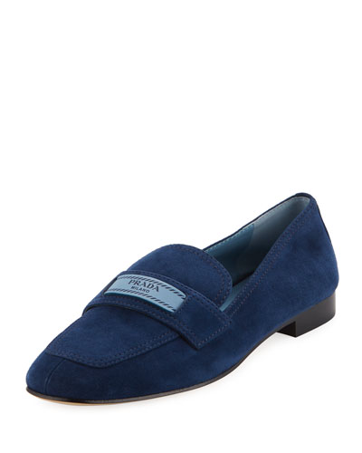 Suede 10mm Loafer with Logo
