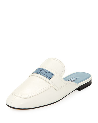 Leather 10Mm Mule Loafer With Logo in White