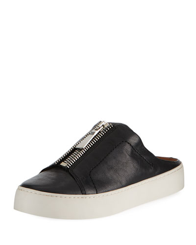 LENA ZIP LEATHER PLATFORM MULE, BLACK