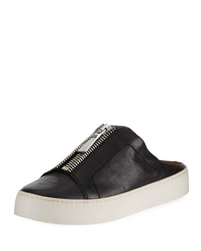 Lena Zip Leather Platform Mule, Black