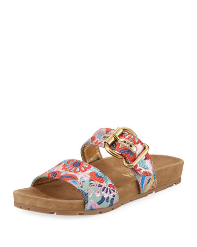 Jacquard Double-Strap 15mm Slide Sandal