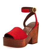 Camila Fur-Trim Platform 100mm Sandal