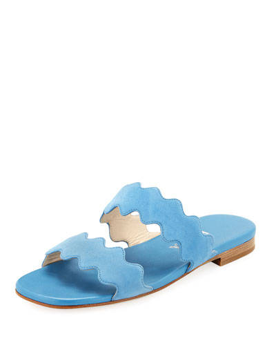 Scalloped Suede Flat Two-Band Slide Sandal