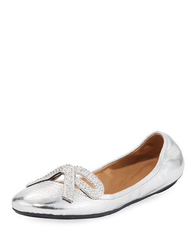 Willa Metallic Strass Bow Ballerina Flat