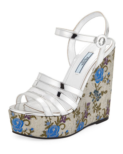 Floral-Jacquard Leather Wedge Sandals in Metallic