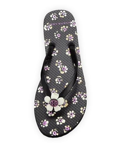 Flower-Print Flat Flip Flop