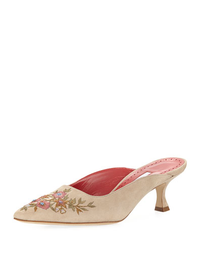 Ornella Embroidered Suede Mule