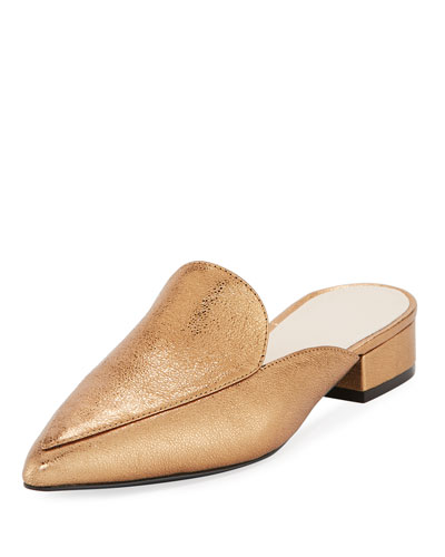 Piper Crackled Metallic Mule, Gold