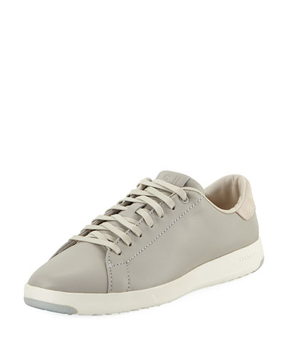 GrandPro Leather Tennis Sneaker, Silver Fox