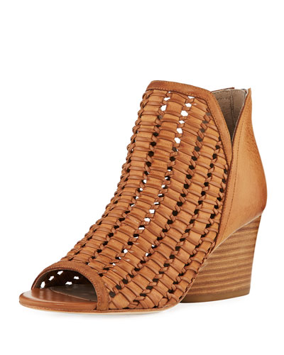 Jacqi Woven Leather Bootie, Fawn