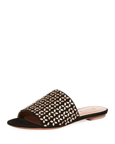 Studded Suede Slide Sandal
