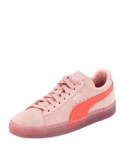 x Sophia Webster Basket Suede Low-Top Sneaker, Pink