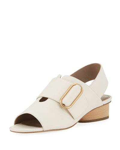 Randie Tumbled Leather Slingback Peep-Toe Sandal