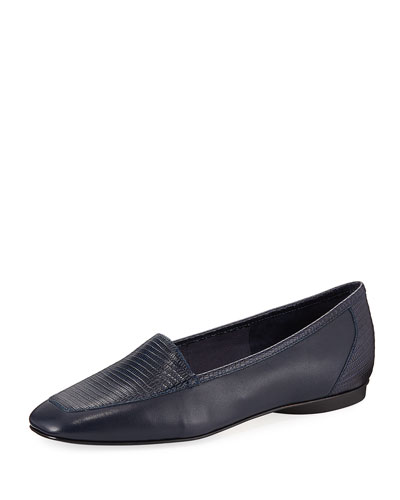 Deedee Slip-On Mixed Leather Flat, Navy
