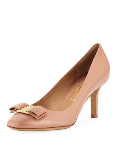 Vara Bow Patent 70mm Pump, New Blush