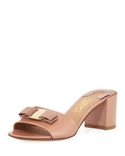 Vara Bow Patent Slide Sandal, New Blush