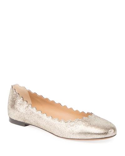 Lauren Scalloped Metallic Leather Ballerina Flat