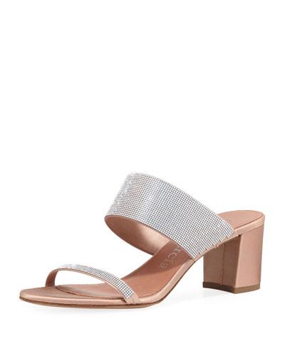 Xina Crystal-Embellished Mule Sandal