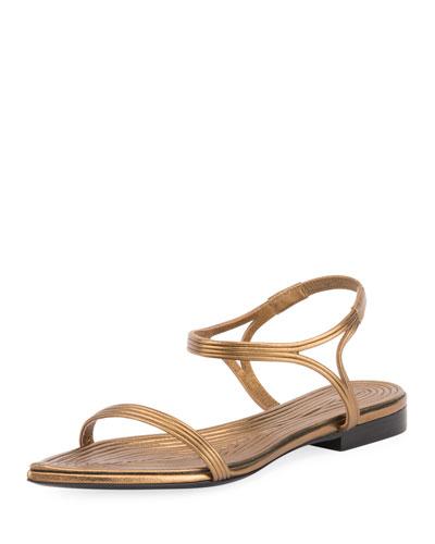 Talitha Metallic Layered Flat Sandal